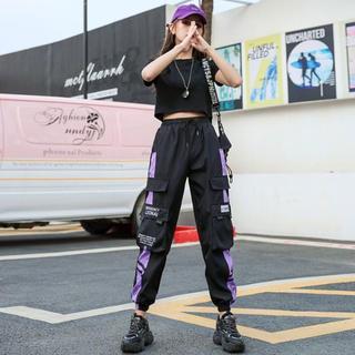 カーゴパンツ レディース 黒 紫 つよかわいい 参戦服 足長効果 ピープス