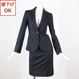 OFUON - オフオン スカートスーツ 36 黒 S シルク混 tqe 秋冬春 ★新品同様★