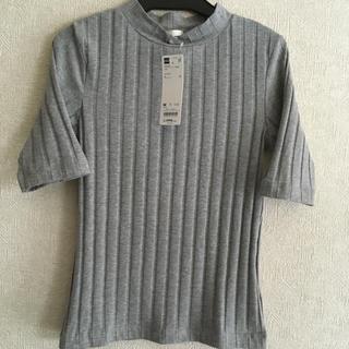 GU - GU、ワイドリブカットソー、半袖、Mサイズ、霜降りグレー、綿95%.ポリエステル