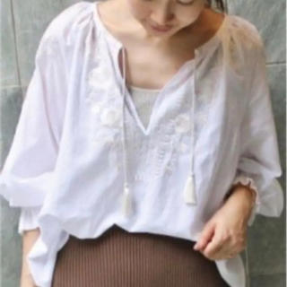 IENA - イエナ エンブロイダリー刺繍ブラウス 七分袖 プルオーバー 白 ホワイト