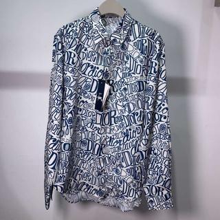 ディオール(Dior)のディオール☆シャツ レーヨン プリント 白 ブルー(シャツ)
