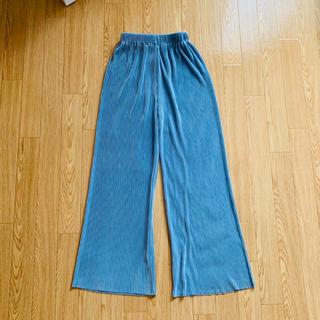 dholic - DHOLIC / リブワイドパンツ ブルー