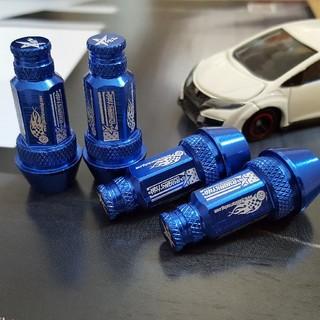 新品 RYANSTARRACING ナット型 ブルー エア バルブキャップ 4個