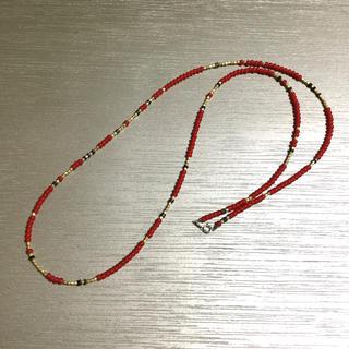 ビームス(BEAMS)のホワイトハーツ ヒーシー ネックレス 40〜80cm レッド(ネックレス)