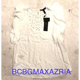 ビーシービージーマックスアズリア(BCBGMAXAZRIA)の値下 新品 タグ付 BCBG 白 トップス フリル 透かし ホワイト(カットソー(半袖/袖なし))