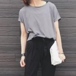 ユニクロ(UNIQLO)の新品*UNIQLO  ドレープTシャツ 半袖 M  グレー(Tシャツ(半袖/袖なし))