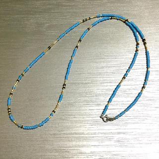 ビームス(BEAMS)のホワイトハーツ ヒーシー ネックレス 40〜80cm スカイブルー(ネックレス)