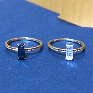 NOJESS - ノジェス K10 ブルー クリア ガラス リング セット