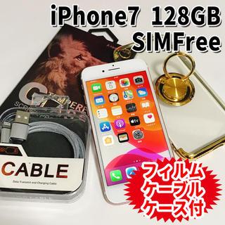 アップル(Apple)のiPhone7 SIMフリー 128GB 59 ローズゴールド 電池交換済(スマートフォン本体)