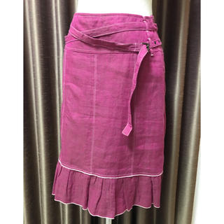 マックスアンドコー(Max & Co.)のMAX&CO 麻の膝丈スカート デニム風 サイズ38(ひざ丈スカート)