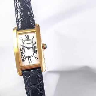 カルティエ(Cartier)の【保証書付】カルティエ タンク アメリカン SM K18 レディース 腕時計(腕時計)