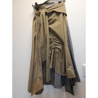 フレイアイディー(FRAY I.D)のフレイアイディー ウエスト リボン アシメ チェック スカート(ひざ丈スカート)