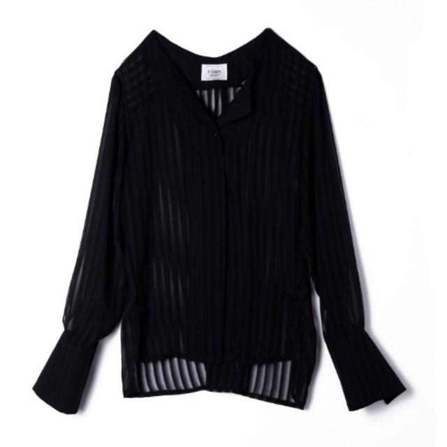 eimy istoire(エイミーイストワール)のエイミーイストワール sheer vneck shirt シアーVネックシャツ レディースのトップス(シャツ/ブラウス(長袖/七分))の商品写真