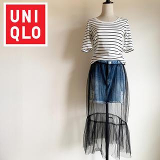 UNIQLO - 人気完売品美品『UNIQLO』リブボーダー UネックTシャツ L