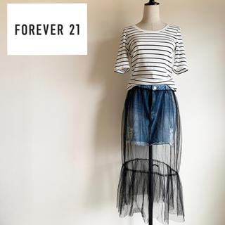 フォーエバートゥエンティーワン(FOREVER 21)の『forever21』デニム チュールスカート ミニ Lサイズ(ミニスカート)