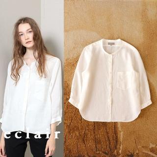 MARGARET HOWELL - マーガレットハウエル リネン100% スタンドカラー シャツ 7分袖 羽織り
