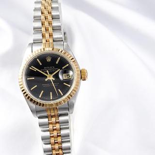 ROLEX - 【仕上済】ロレックス デイトジャスト 黒文字盤 コンビ レディース 腕時計