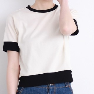 チャイルドウーマン(CHILD WOMAN)のチャイルドウーマン △連シルフライスバイカラー半袖Tシャツ(Tシャツ(半袖/袖なし))