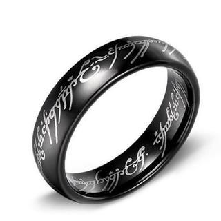 日本サイズ21号 6mmメンズ/レディースブラックリング A205BK09(リング(指輪))