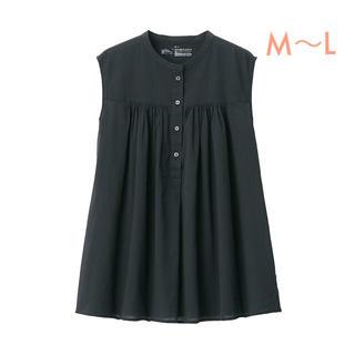 MUJI (無印良品) - 無印良品   新疆綿強撚ノースリーブブラウス  婦人M~L・黒