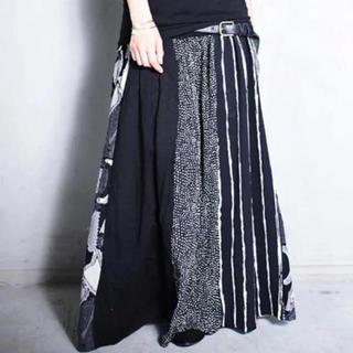 antiqua - 異素材切り替えロングスカート