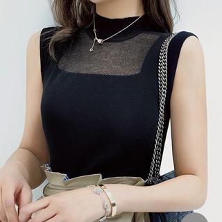 リリーブラウン(Lily Brown)のレースデザインカットソー(ブラック)(カットソー(半袖/袖なし))