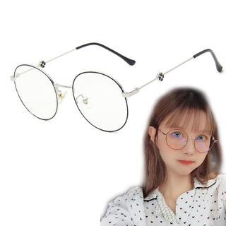 ◇ブルーライトカット 丸メガネ フラワー 19グラム 伊達眼鏡 度なし(サングラス/メガネ)