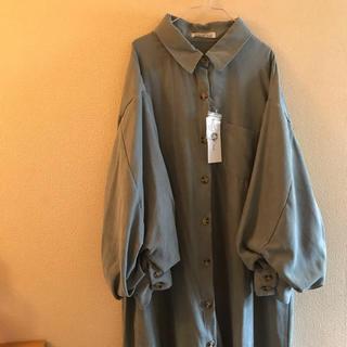 しまむら - 袖バルーンAラインシャツワンピース・しまむら・Lサイズ・新品未使用タグ付き