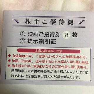 東京テアトル 株主優待 映画観賞券 8枚 女性名義 20年8月~21年1月末