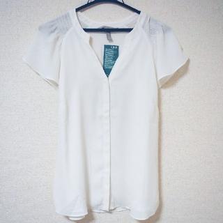エイチアンドエム(H&M)のH&M ブラウス 42 L XL ホワイト 半袖(シャツ/ブラウス(半袖/袖なし))