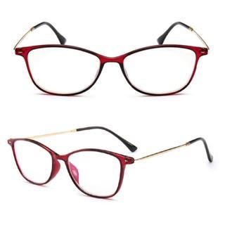 113  ボストン タイプの老眼鏡 ブルーライトカット 色赤 度数+1.5(サングラス/メガネ)