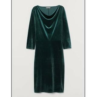 エイチアンドエム(H&M)のH&M ベロア フィットワンピース ドレス ダークグリーン(ひざ丈ワンピース)