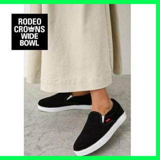 ロデオクラウンズワイドボウル(RODEO CROWNS WIDE BOWL)の【美品】RODEO CROWNS WIDE BOWL ロデオスリッポン ブラック(スリッポン/モカシン)