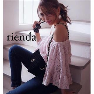 rienda - rienda レース ブラウジング オフショル トップス♡デイライルノアール