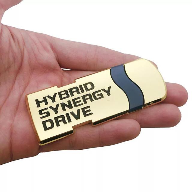 3Dハイブリッドエンブレム カラー:ゴールド 自動車/バイクの自動車(車外アクセサリ)の商品写真
