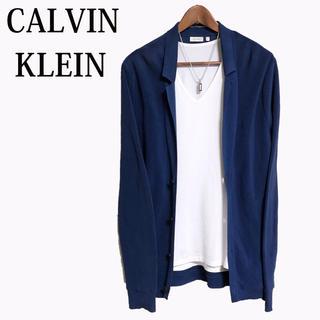 Calvin Klein - CALVIN KLEIN テーラードジャケット コットンニットジャケット 青