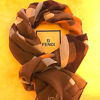 フェンディ(FENDI)の極美 フェンディ  シルクスカーフ シフォンタイプ/ブラウン、オレンジ NICE(バンダナ/スカーフ)