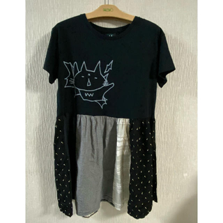 エイチナオト(h.naoto)のMINT NeKO  ワンピース ネコプリT×パッチスカート(ひざ丈ワンピース)