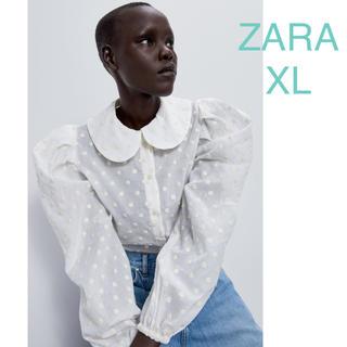 ZARA - ZARA ザラ ドット柄刺繍入り ブラウス トップス