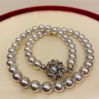 【超美品】あこや真珠 8mm グレー ネックレス 20i-34
