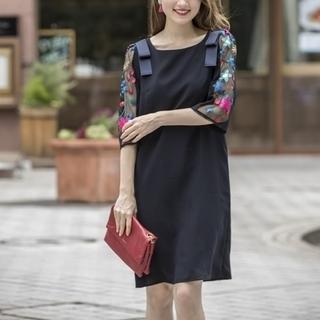 tocco - 《tocco closet》お花刺繍 シースルー袖 ワンピース F