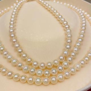【超美品】あこや真珠 3連 ロングネックレス 20i-32