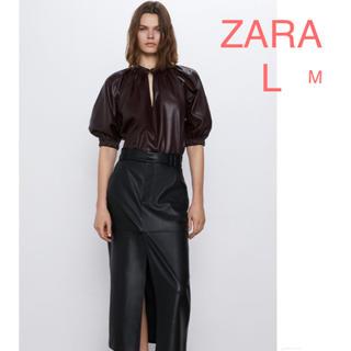 ZARA - ZARA ザラ レザー風ブラウス トップス L