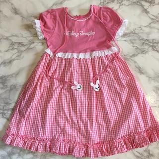 シャーリーテンプル(Shirley Temple)のシャーリーテンプル ワンピース 120 美品 ピンク うさぎ チェック ロゴ入り(ワンピース)