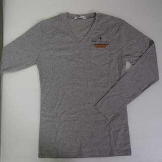【新品】Vネック ポケット 長袖 グレー XL (T19)(Tシャツ/カットソー(七分/長袖))