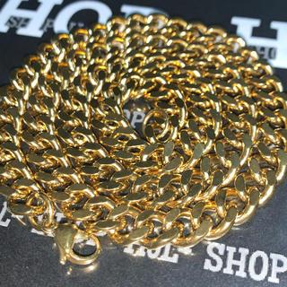 【送料込み】18K Plated GOLD 2面シングル 喜平ネックレス 厚太(ネックレス)