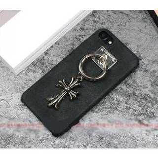 iPhoneケース ブラック レザー クロス バンカーリング ソフトシェル 保護
