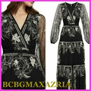 ビーシービージーマックスアズリア(BCBGMAXAZRIA)の【BCBG MAXAZRIA】刺繍マキシドレス ワンピース black9(ロングワンピース/マキシワンピース)