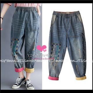 🌷【~W100】【~3L4L相当】刺繍&ダメージ裾2カラーデニムパンツ*ブルー