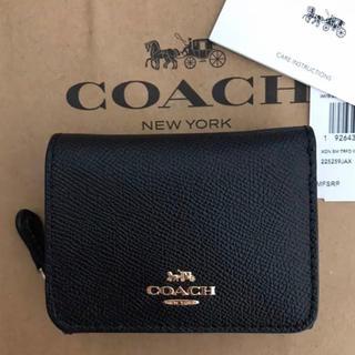 COACH - 新品!コーチ 三つ折り財布 ブラック 黒